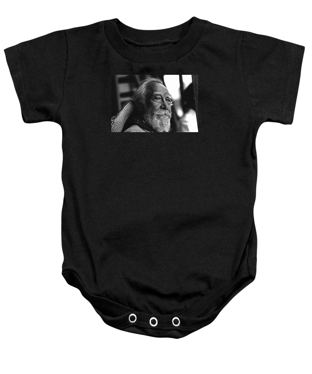 Julian Rivero The High Chaparral Old Tucson Arizona John Wayne Tycoon The Reward Strange Lady In Town White Beard Mexican Peon Black And White Baby Onesie featuring the photograph Julian Rivero The High Chaparral Old Tucson Arizona 1970 by David Lee Guss