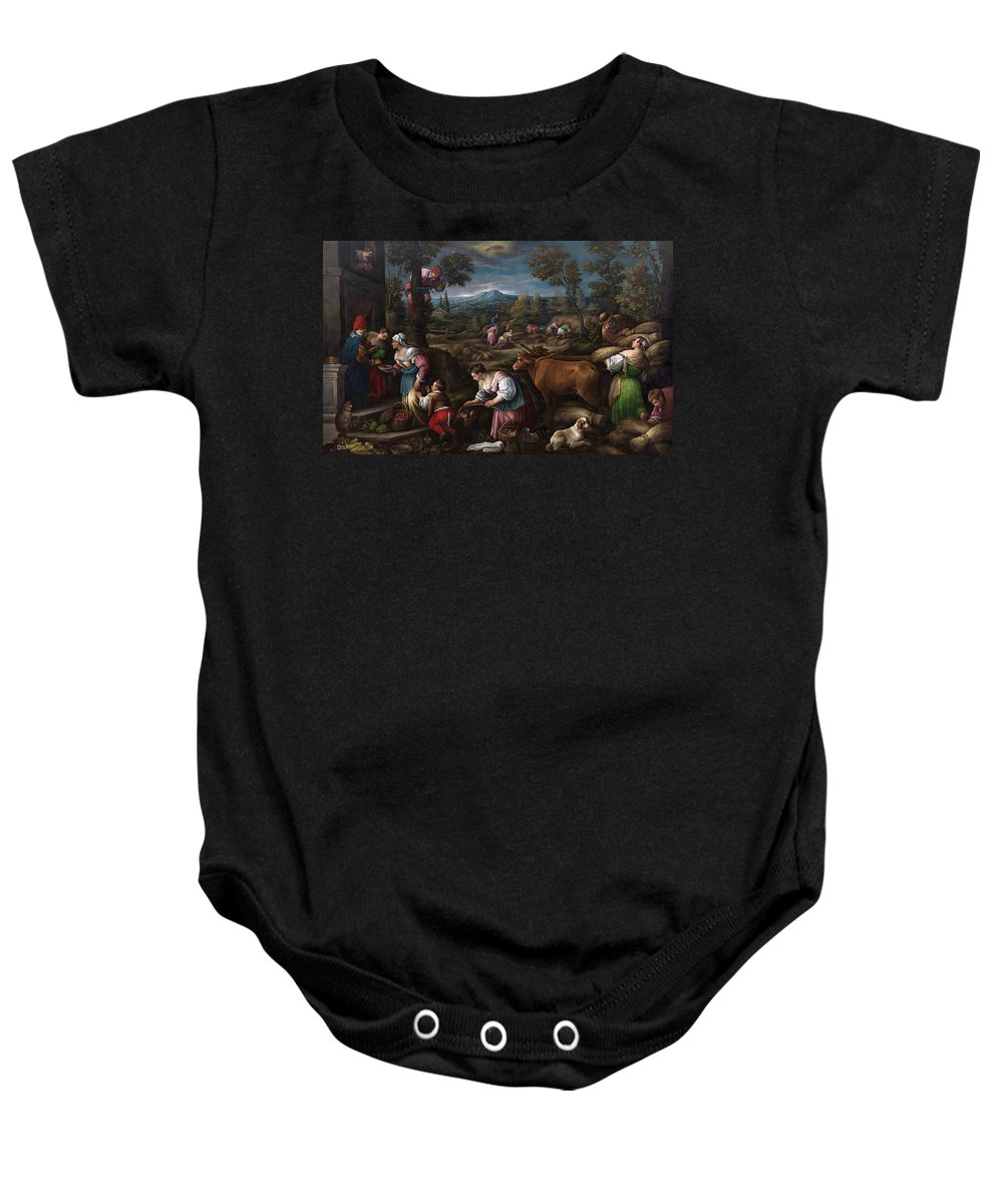 Francesco Bassano Baby Onesie featuring the painting June. Cancer by Francesco Bassano