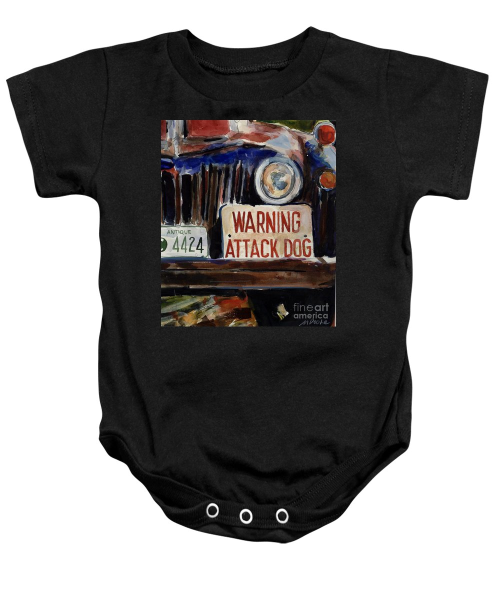 Junkyard Baby Onesie featuring the painting Junkyard Dog by Molly Poole