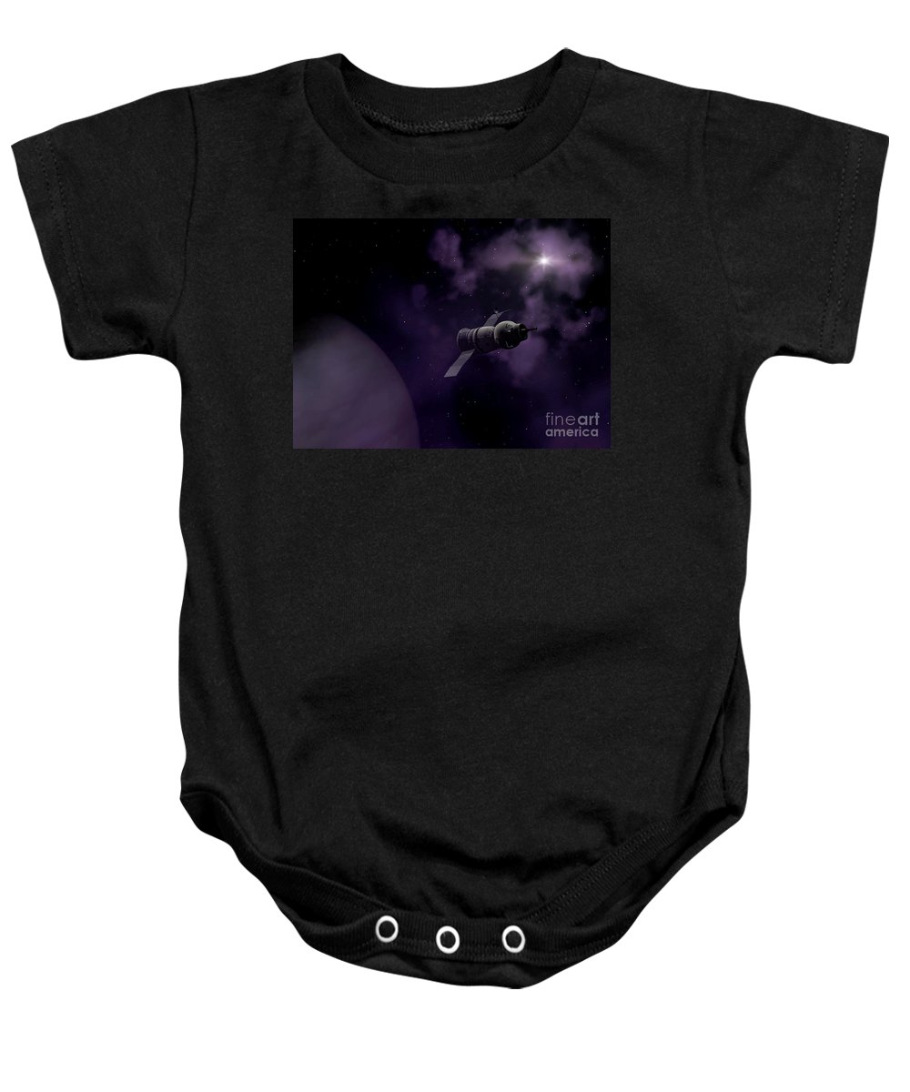 Space Baby Onesie featuring the digital art Jupitor One Exploration by Richard Rizzo