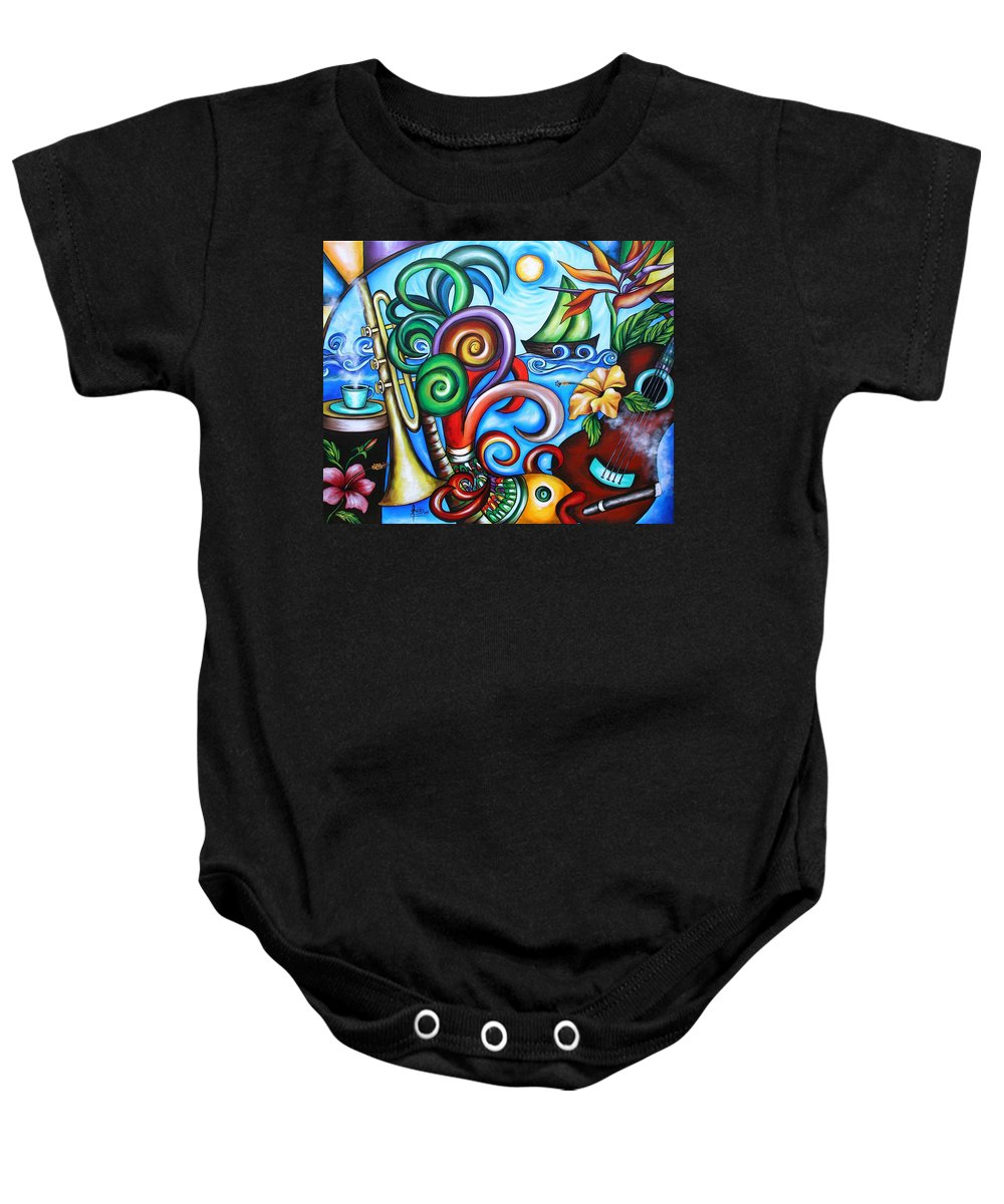 Cuba Baby Onesie featuring the painting Just A Day In Paradise by Annie Maxwell