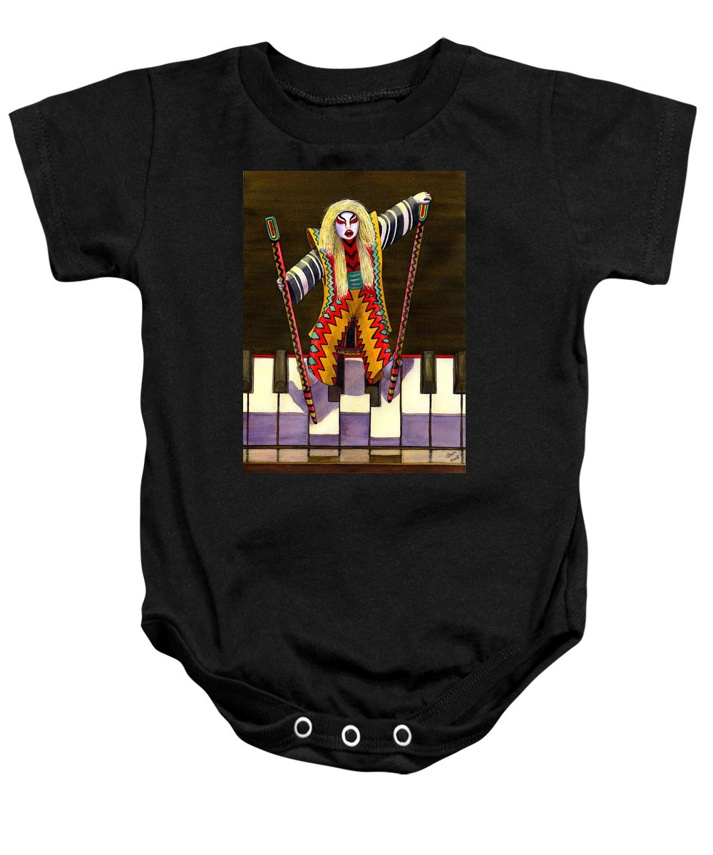 Kabuki Baby Onesie featuring the painting Kabuki Chopsticks 2 by Catherine G McElroy