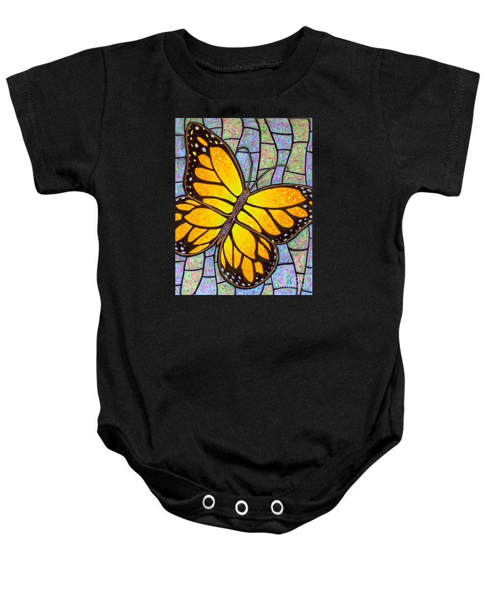 Butterflies Baby Onesie featuring the painting Karens Butterfly by Jim Harris