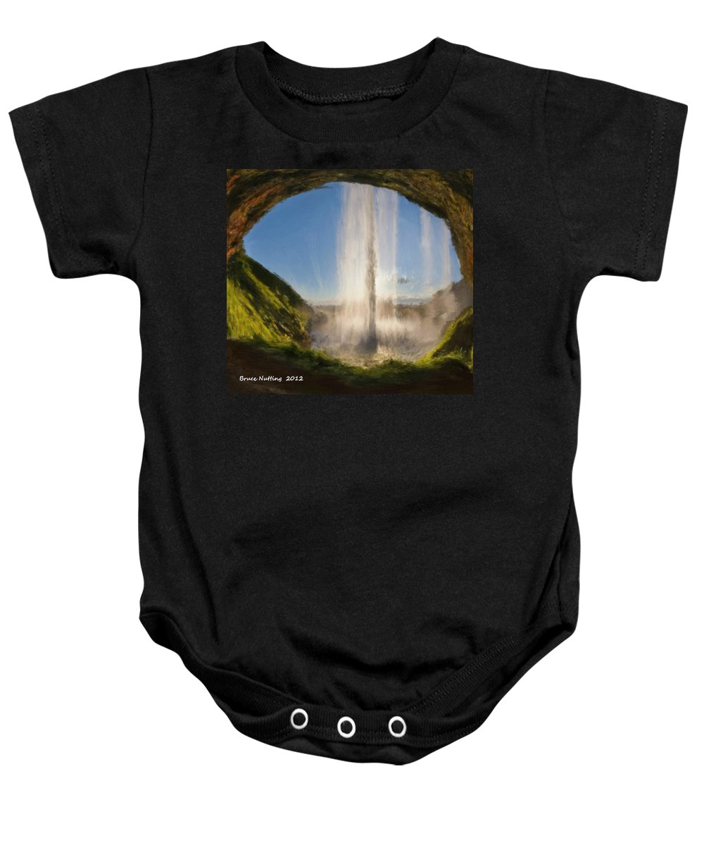 Cave Baby Onesie featuring the painting Karen's Waterfalls by Bruce Nutting