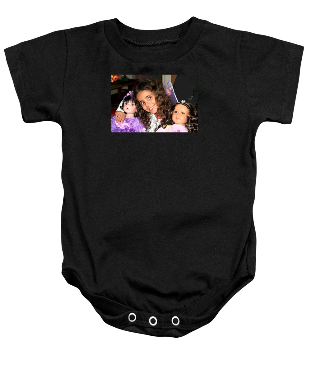 Grandchildren Baby Onesie featuring the photograph Karla's Dolls by The Art of Alice Terrill