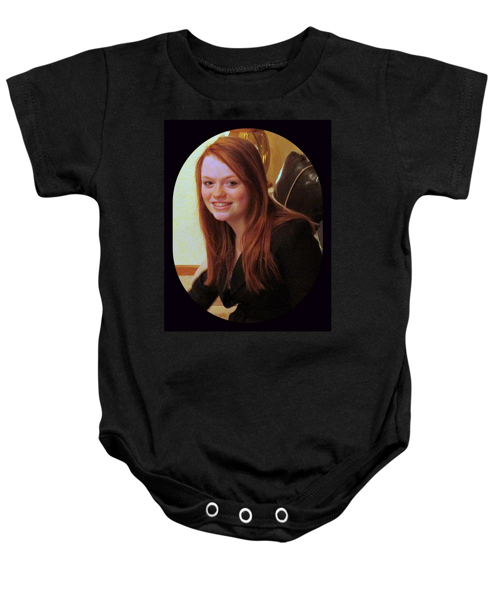 Protrait Baby Onesie featuring the photograph Kayte by Kay Novy