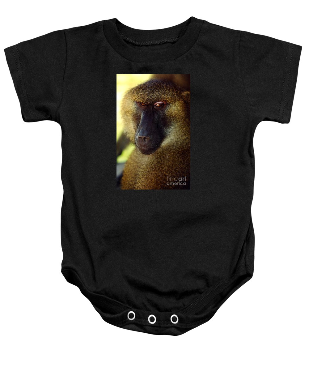Babboon Baby Onesie featuring the photograph Kc Babboon 2 by Gary Gingrich Galleries