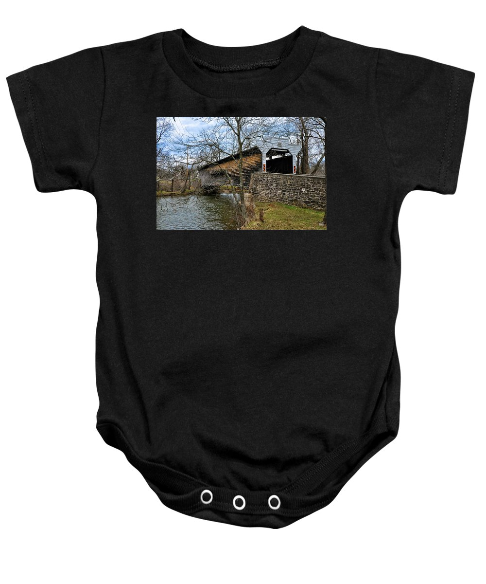 Kennedy Baby Onesie featuring the photograph Kennedy Covered Bridge - Chester County Pa by Bill Cannon