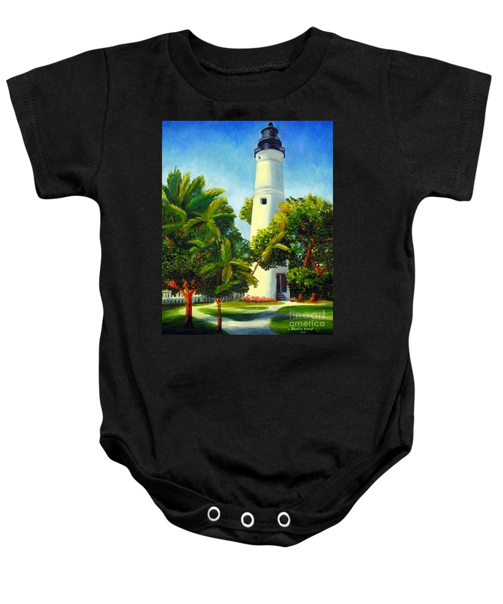 Art Baby Onesie featuring the painting Key West Lighthouse by Shelia Kempf