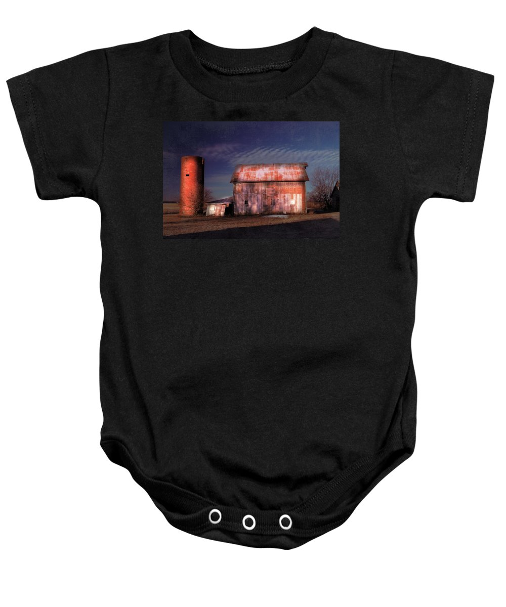 Rustic Baby Onesie featuring the photograph Kipling Barn by Bonfire Photography