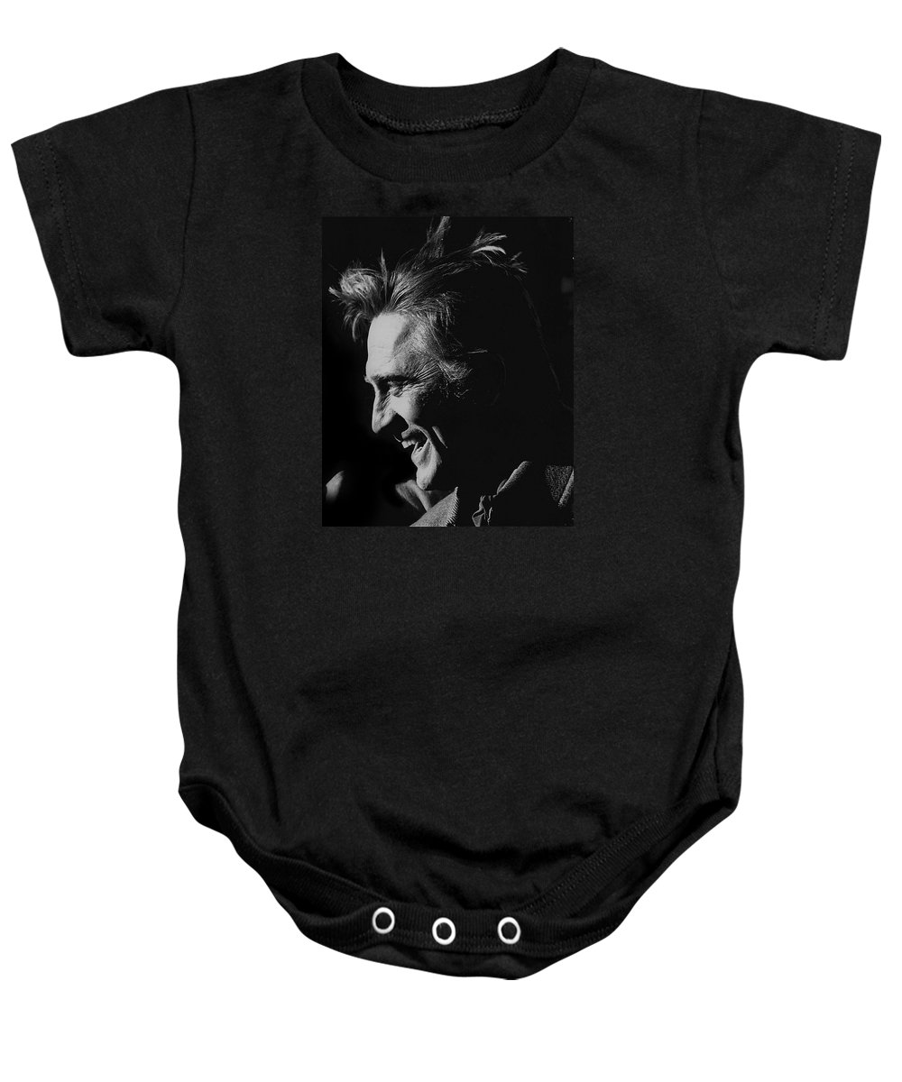Kirk Douglas Cast A Giant Shadow Homage Old Tucson Arizona Black And White Laughing John Wayne Baby Onesie featuring the photograph Kirk Douglas Cast A Giant Shadow Homage 1966 Old Tucson Arizona by David Lee Guss