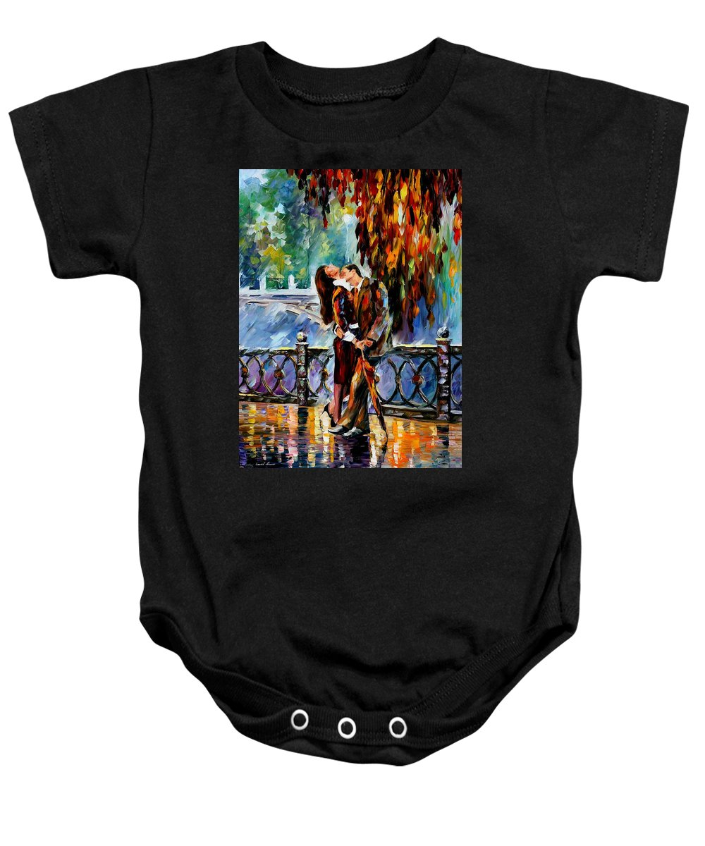 Oil Paintings Baby Onesie featuring the painting Kiss After The Rain - Palette Knife Oil Painting On Canvas By Leonid Afremov by Leonid Afremov