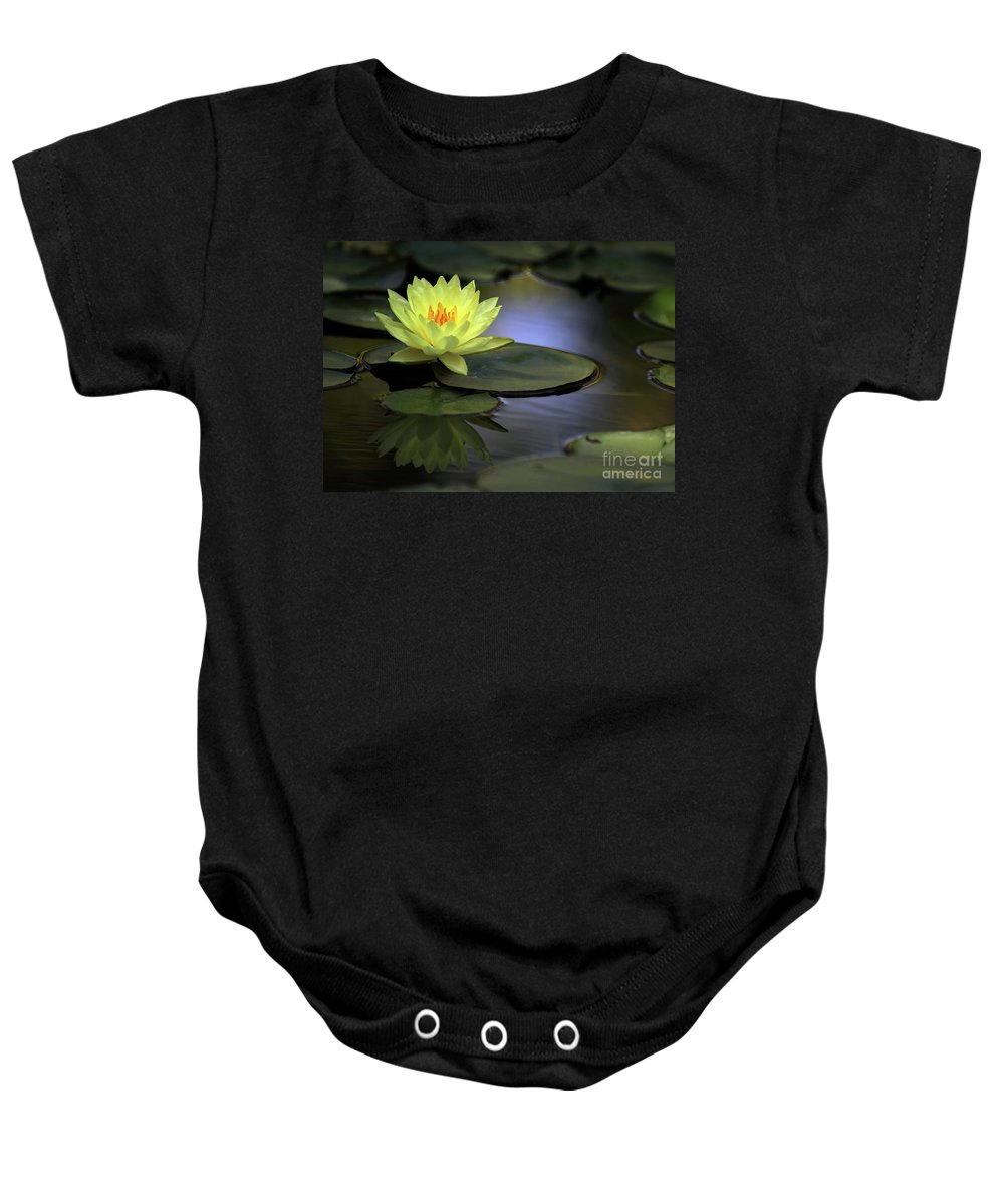 Water Lily Baby Onesie featuring the photograph Kissed By The Sun by Sabrina L Ryan