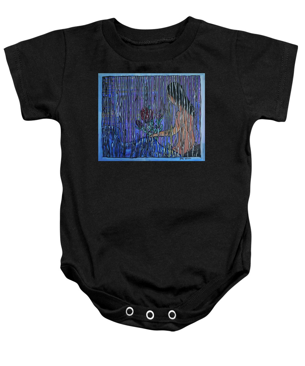 Painting Baby Onesie featuring the painting Kissing Rain by Barbara St Jean