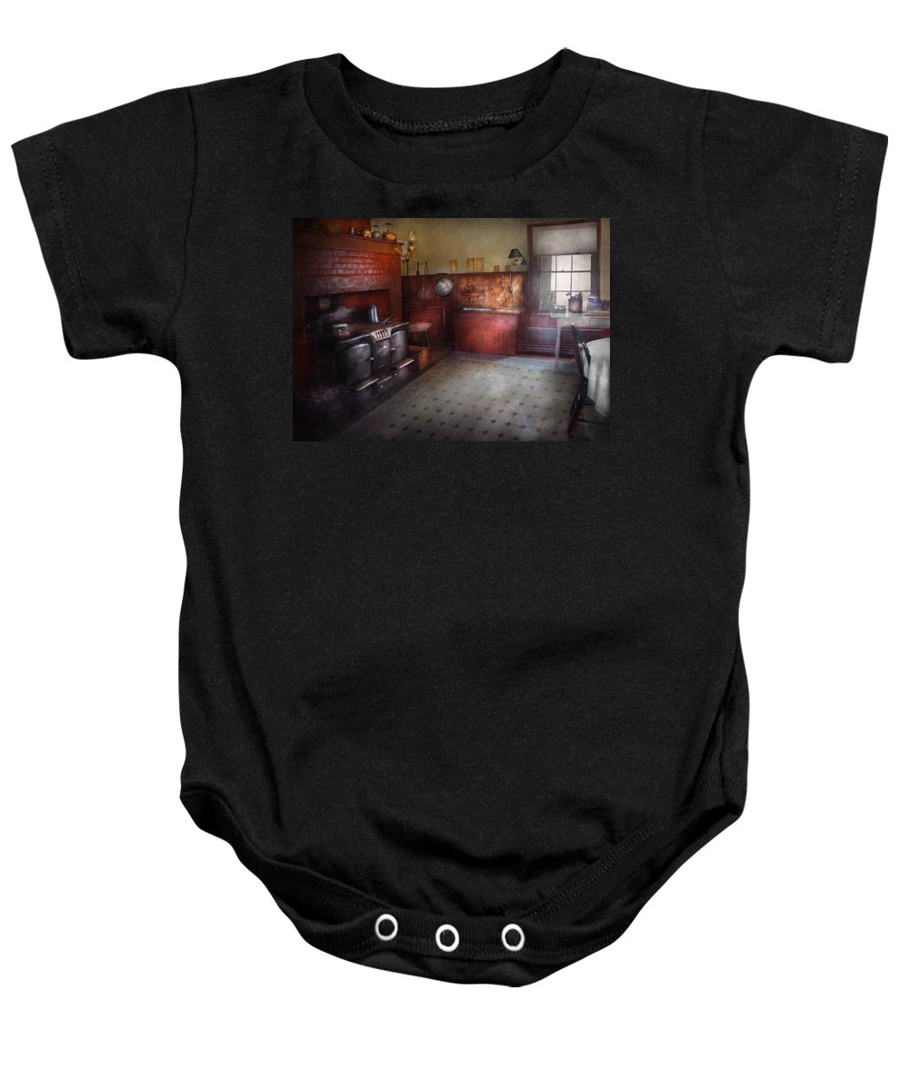 Hdr Baby Onesie featuring the photograph Kitchen - Storybook Cottage Kitchen by Mike Savad