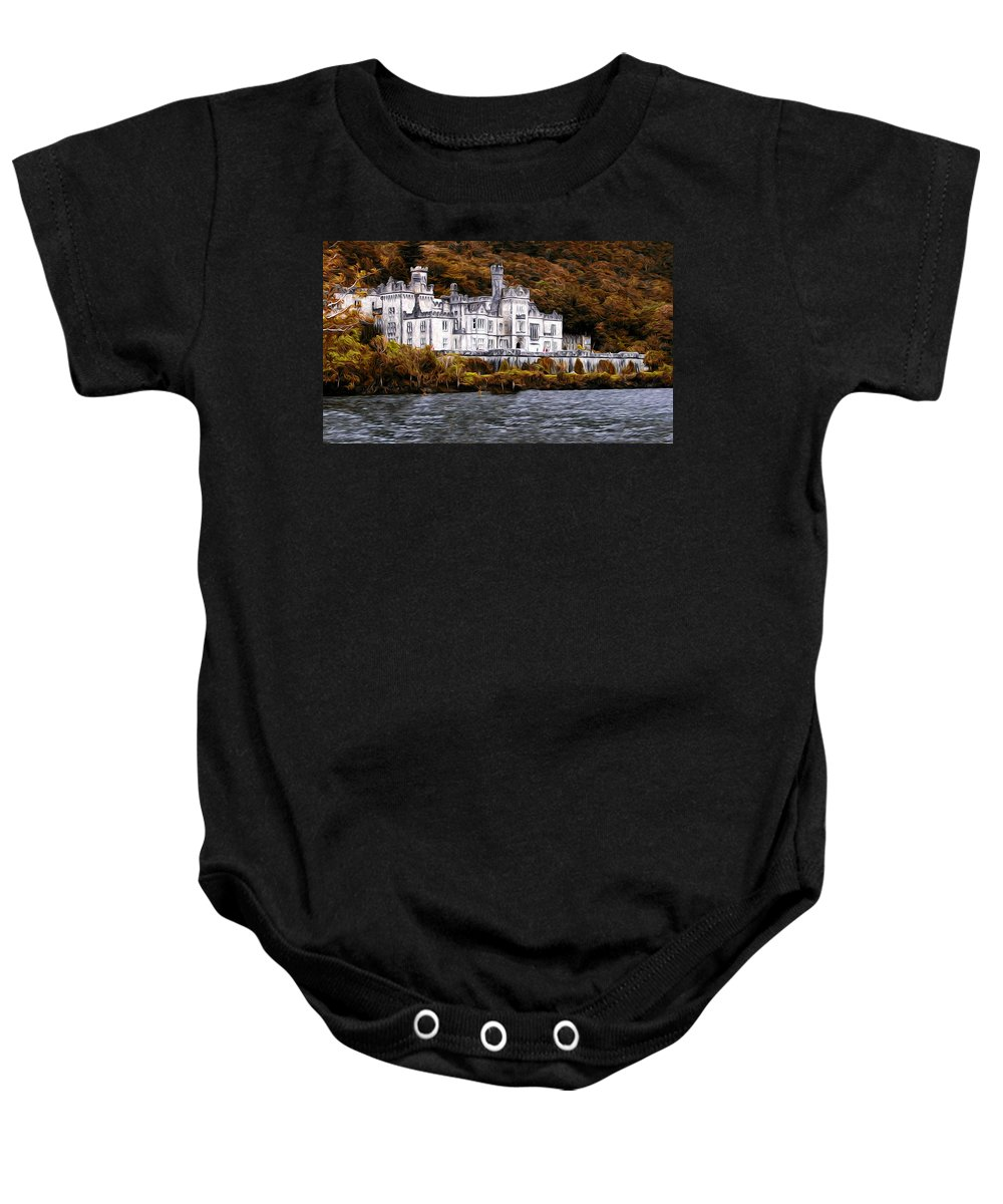 Irish Castle On The Water Baby Onesie featuring the photograph Klyemore Abbey by Bill Cannon