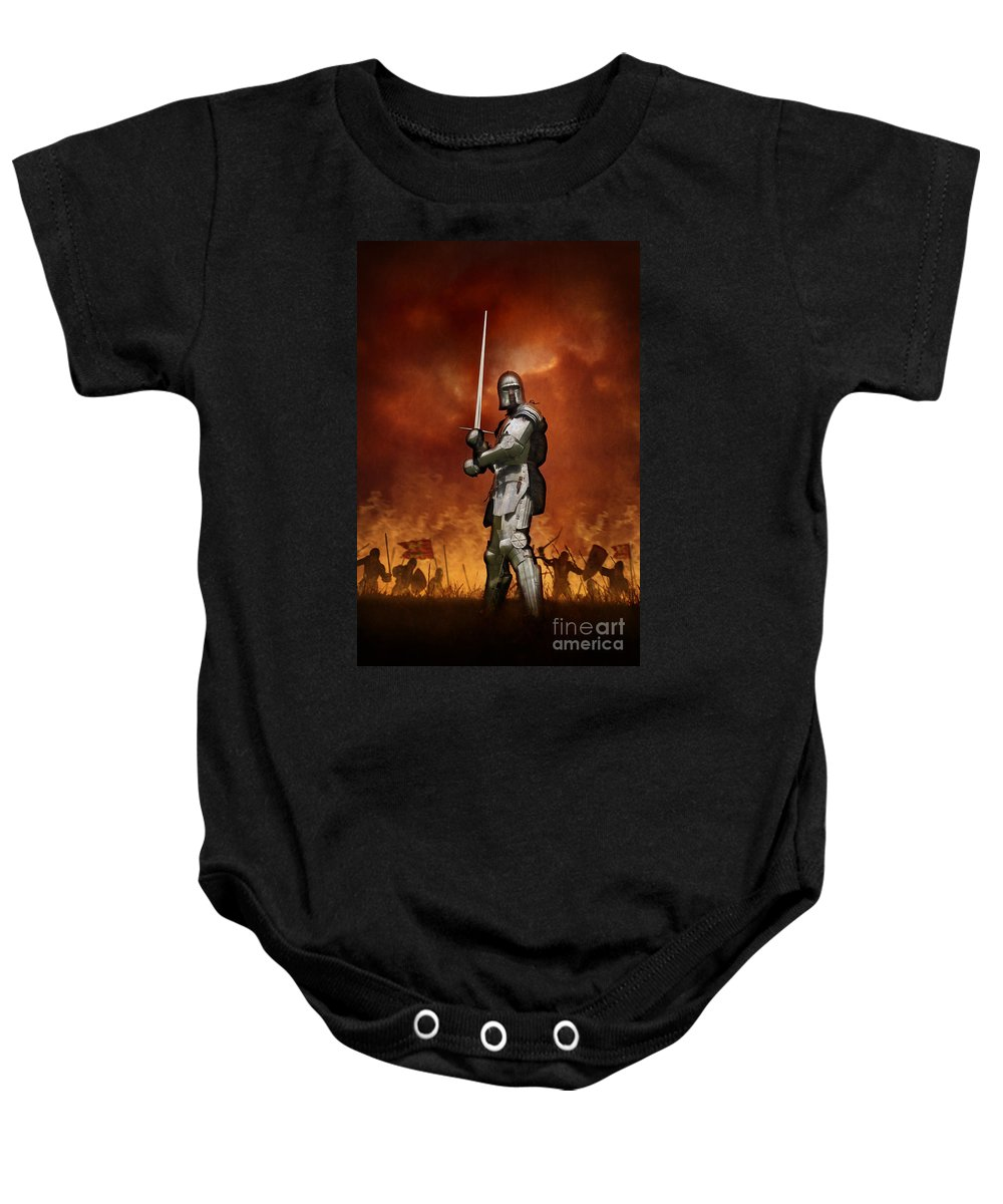 Knight Baby Onesie featuring the photograph Knight In Shining Armour On A Medieval Battlefield by Lee Avison