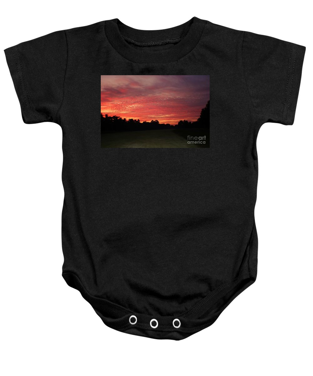 Sunrise Landscape Baby Onesie featuring the photograph Knock Knocking On Heavens Door by Polly Peacock