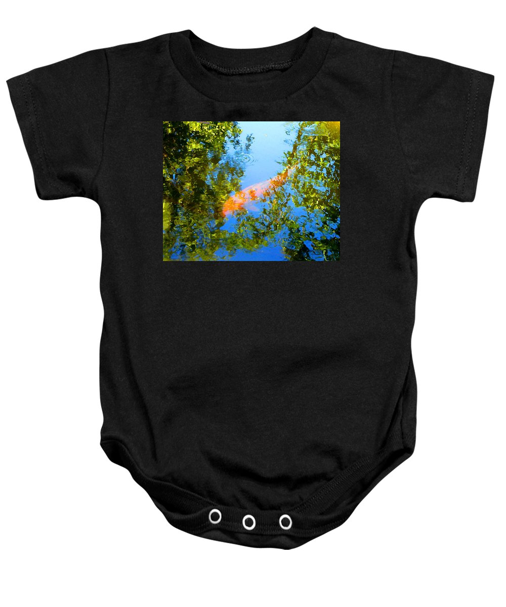 Animal Baby Onesie featuring the painting Koi Fish 3 by Amy Vangsgard