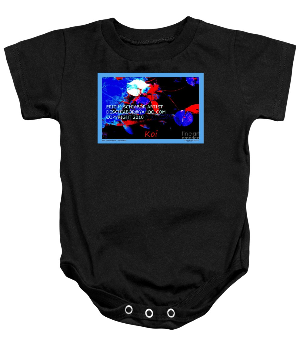 Koi Baby Onesie featuring the photograph Koi Fish by Eric Schiabor