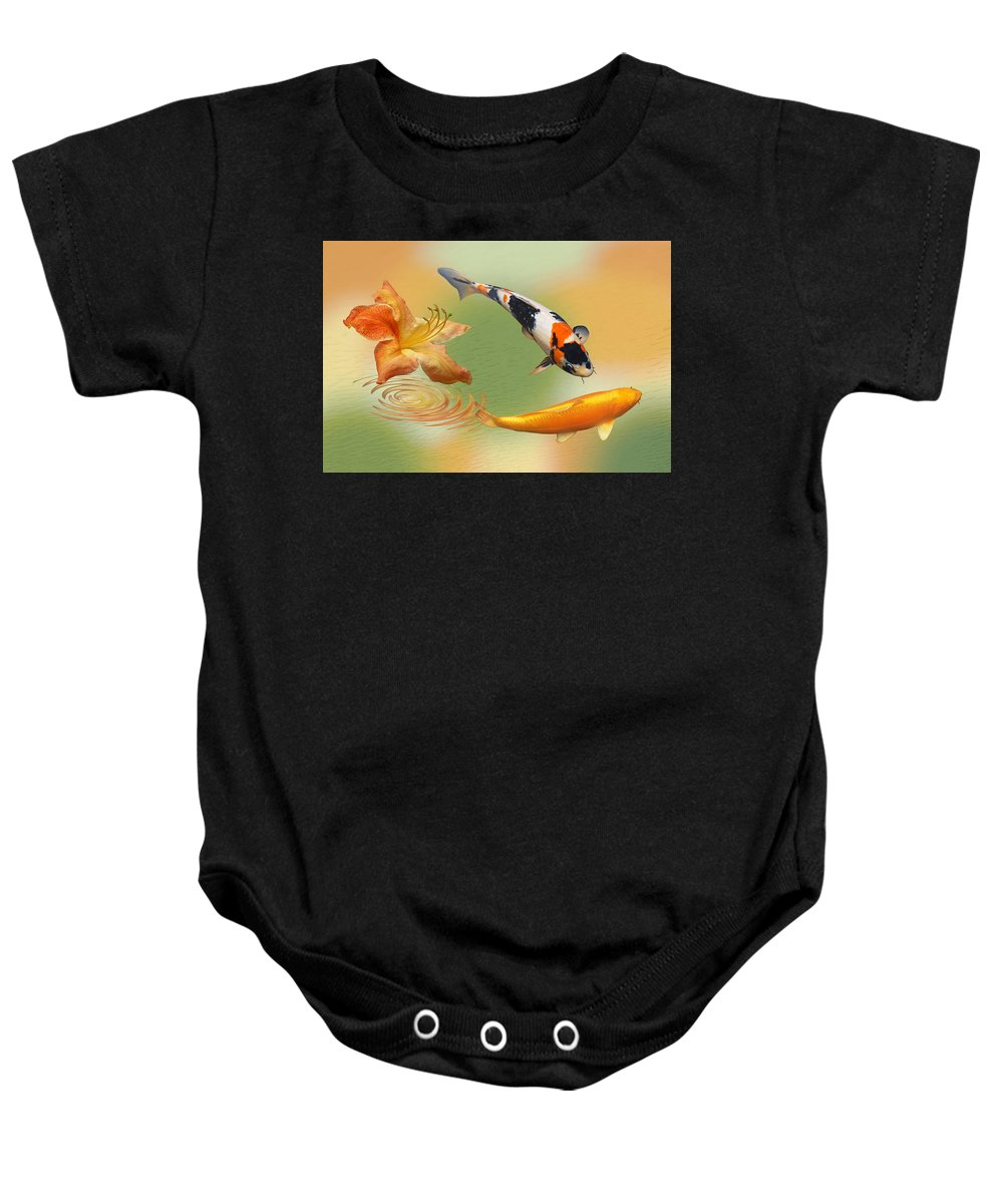 Fish Baby Onesie featuring the photograph Koi With Azalea Ripples Dreamscape by Gill Billington