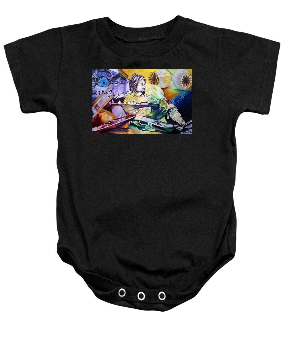 Kurt Cobain Baby Onesie featuring the painting Kurt Cobain- It Aint Medicine Kurt by Joshua Morton