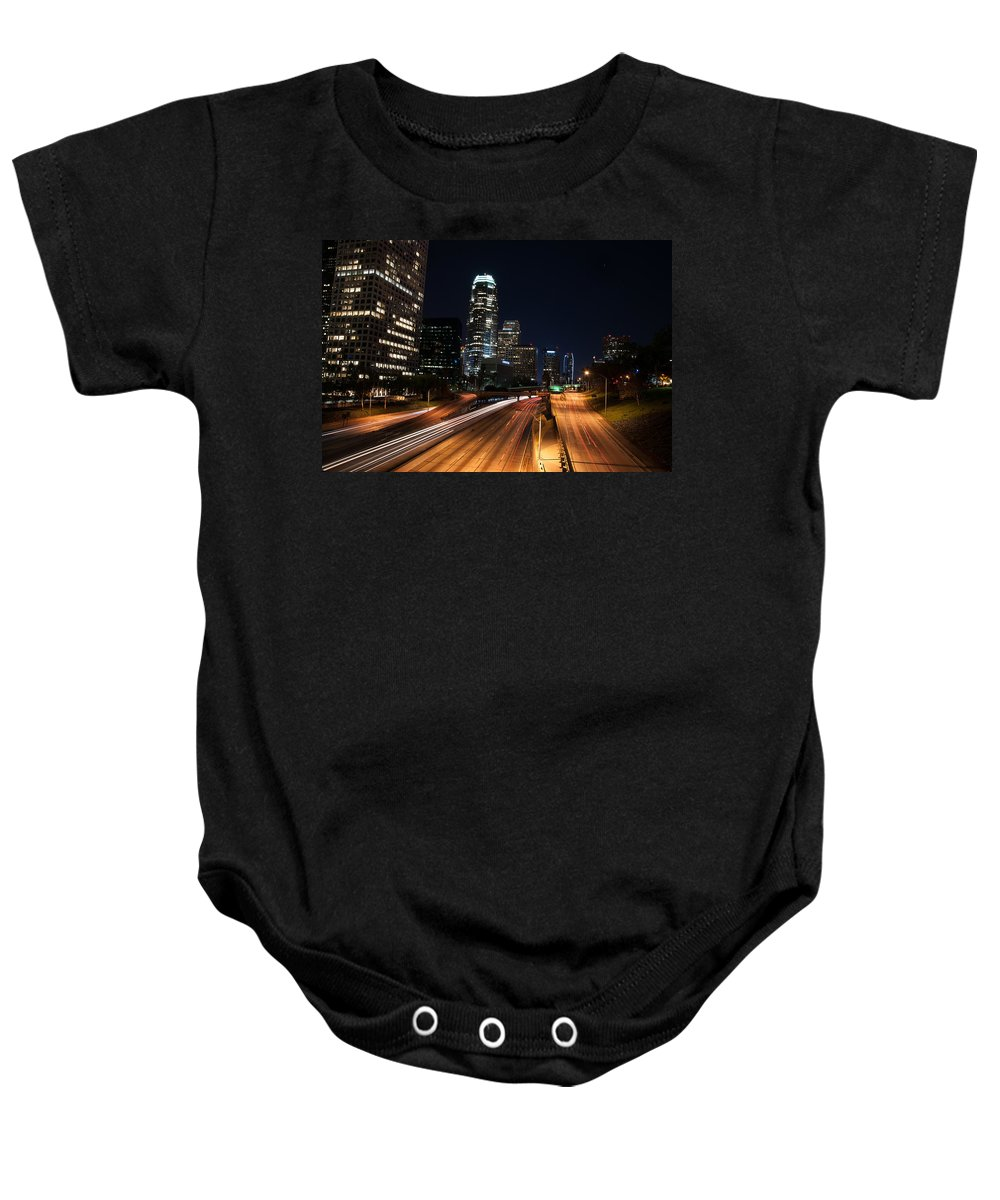 Los Angeles Baby Onesie featuring the photograph La Down Town by Gandz Photography