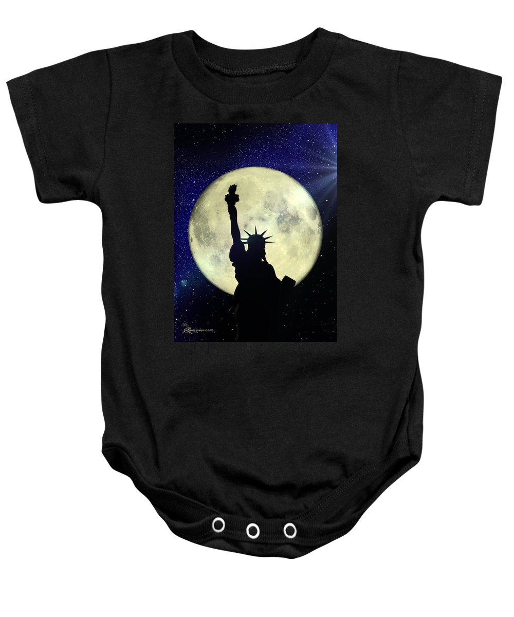 Statue Of Liberty Baby Onesie featuring the photograph Lady Liberty Nyc - Featured In Comfortable Art Group by Ericamaxine Price