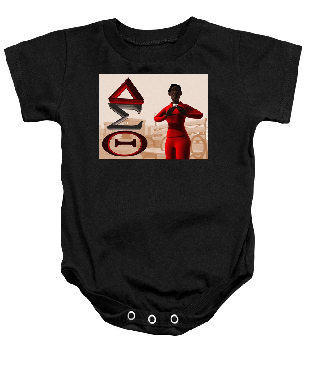 Delta Sigma Theta Baby Onesie featuring the digital art Lady Of Dst by James Bowman