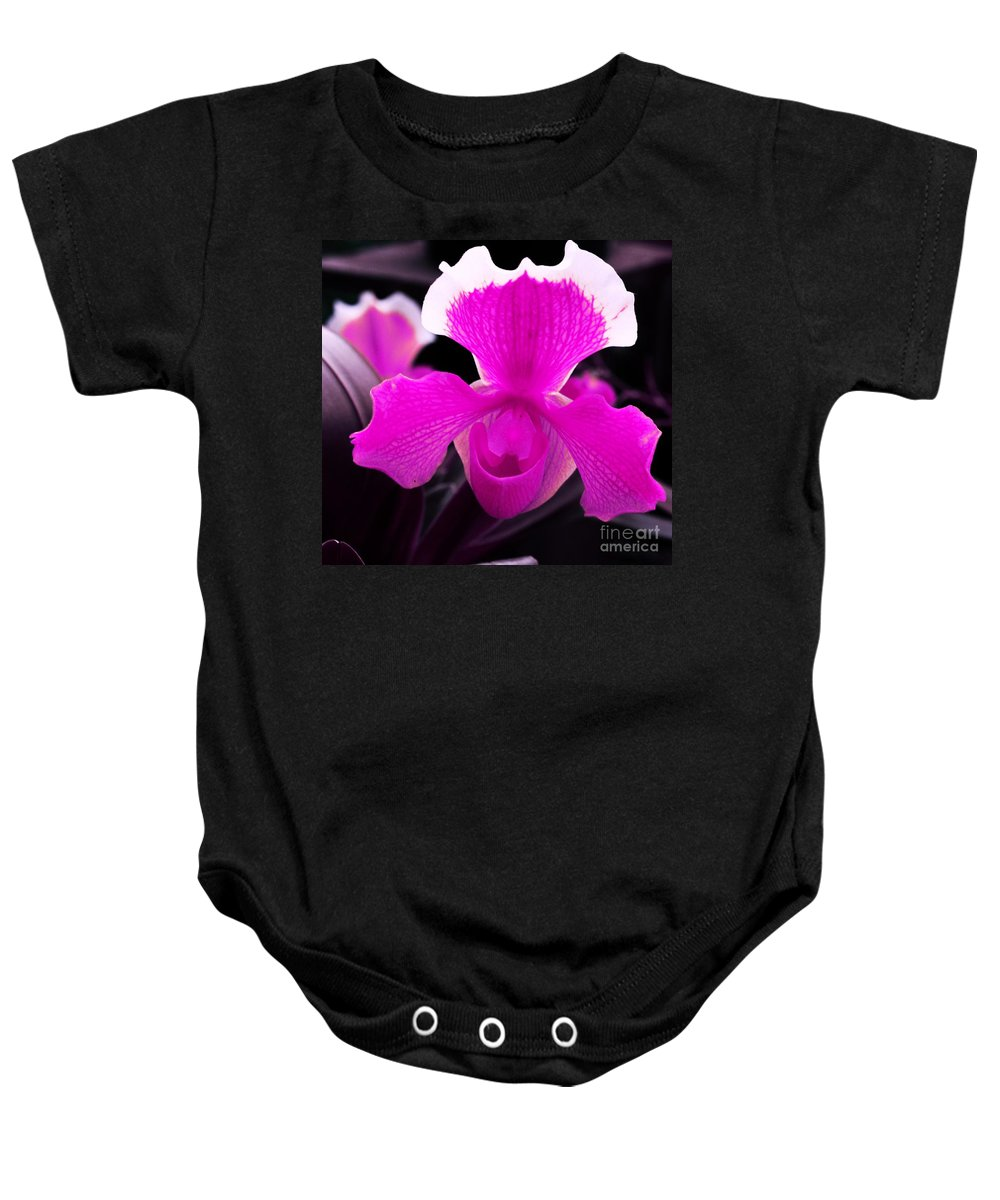 Orchid Baby Onesie featuring the photograph Lady Slippers by Kathleen Struckle