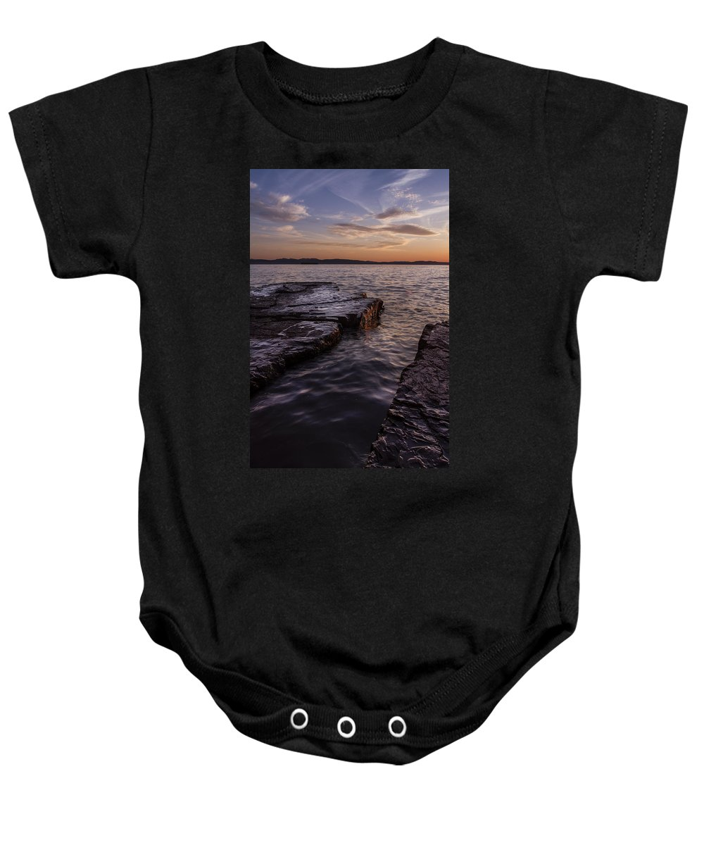 Vermont Baby Onesie featuring the photograph Lake Champlain Sunset Burlington Vermont Oakledge Park by Andy Gimino
