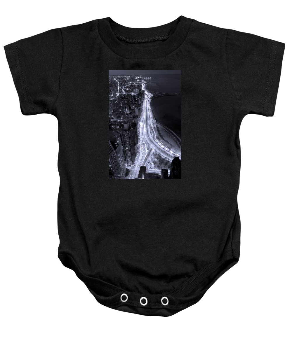 Beach Baby Onesie featuring the photograph Lake Shore Drive Aerial B And W by Steve Gadomski