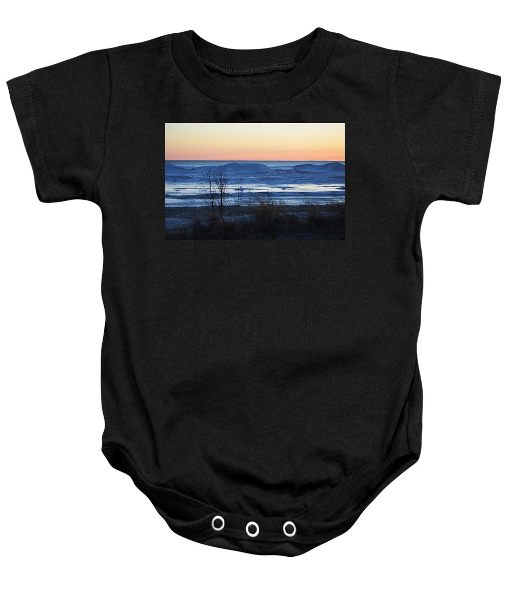Lake Michigan Baby Onesie featuring the photograph Lake Sunset by Linda Kerkau