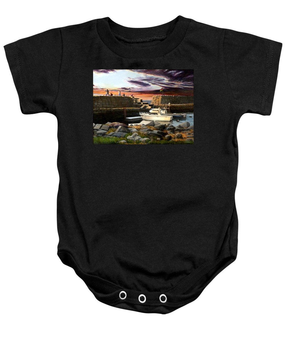 Gloucester Baby Onesie featuring the painting Lanes Cove Gloucester by Eileen Patten Oliver