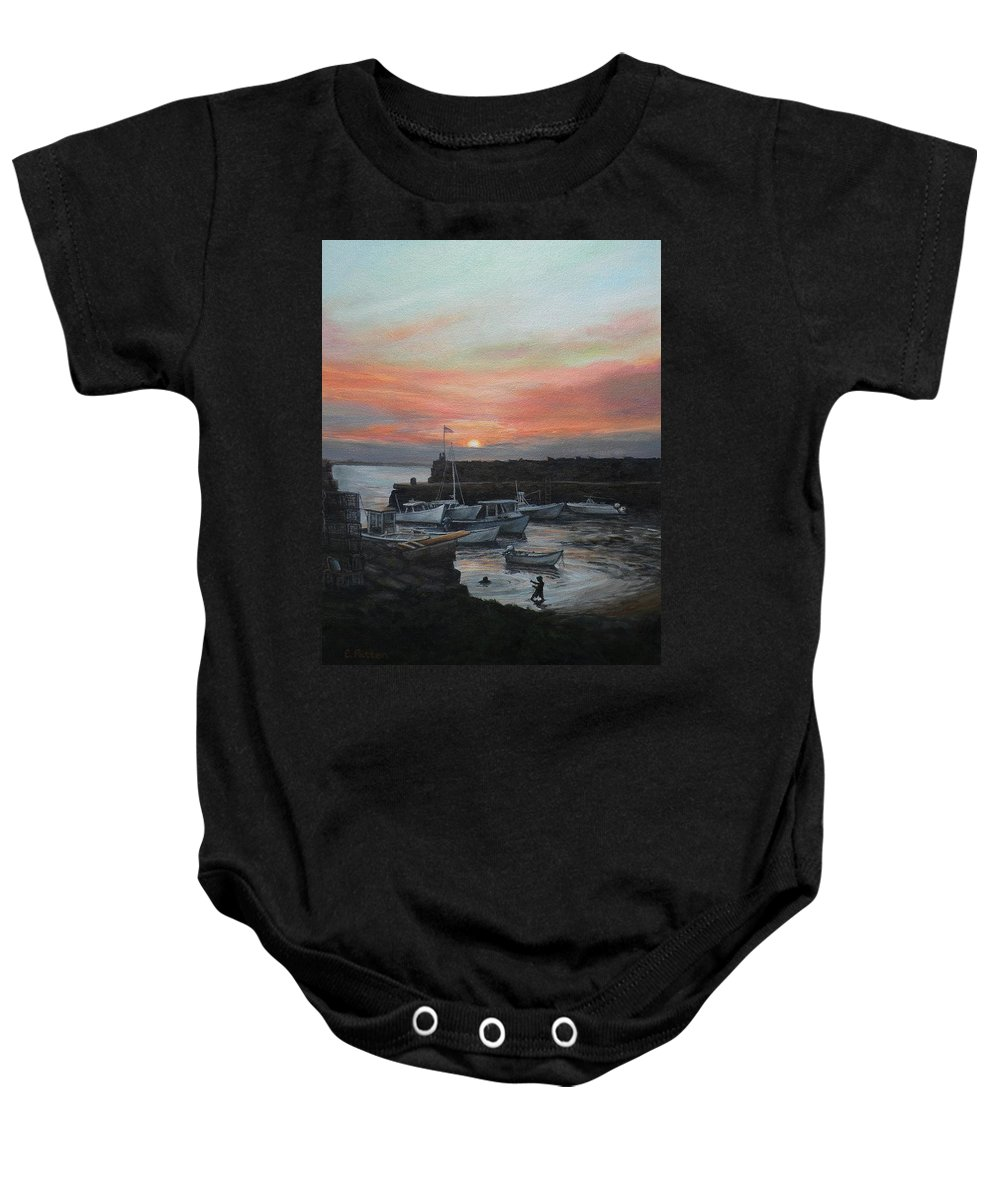 Lanes Cove Baby Onesie featuring the painting Lanes Cove Sunset by Eileen Patten Oliver