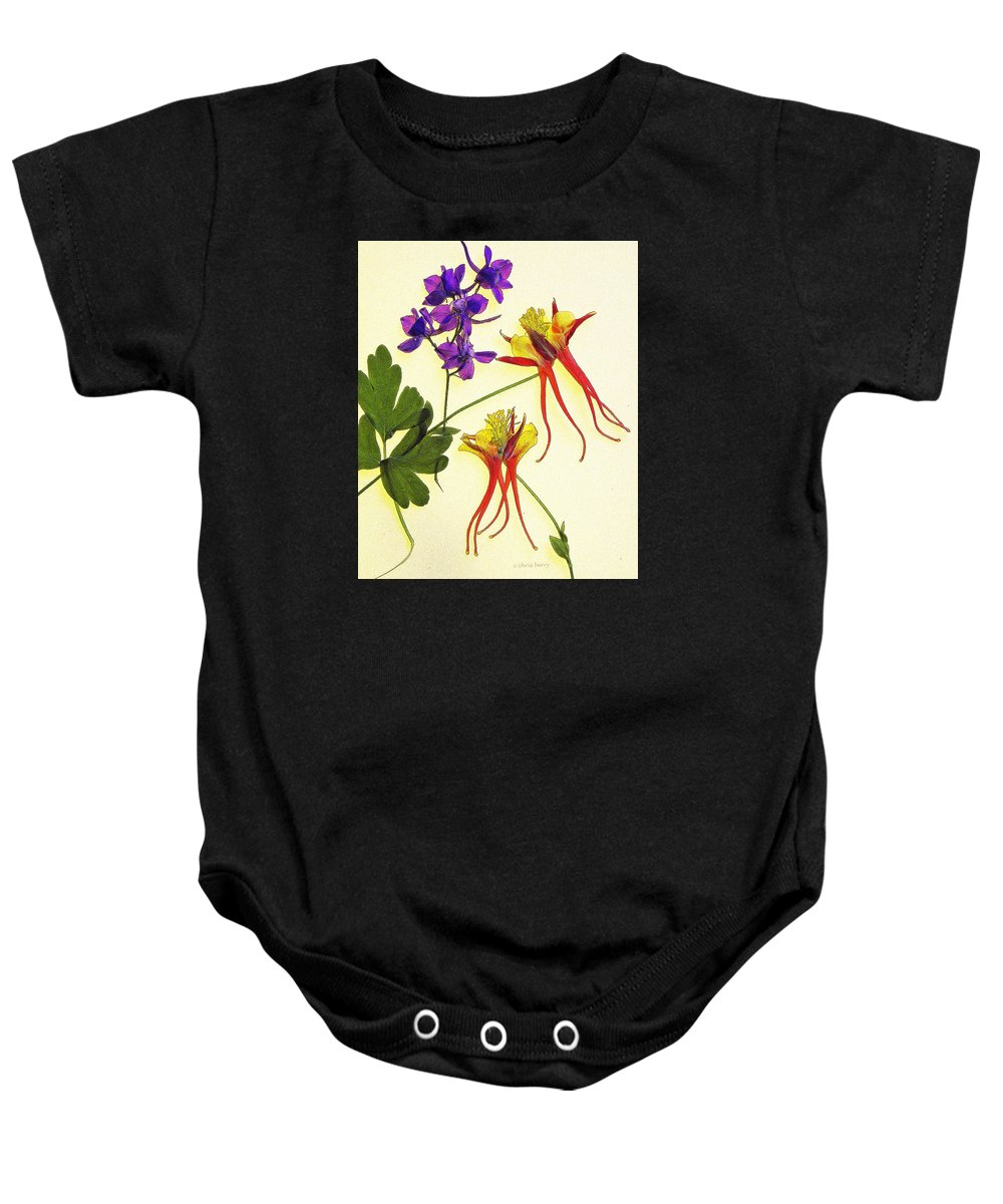 Nature Baby Onesie featuring the photograph Larkspur And Columbine by Chris Berry