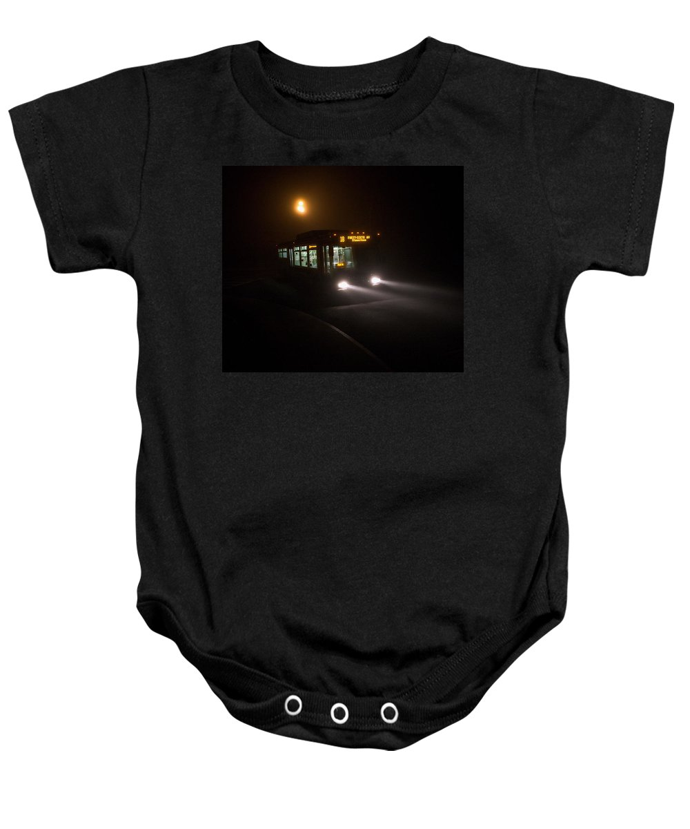 Bus Baby Onesie featuring the photograph Last Bus In The Fog by Daniel Furon