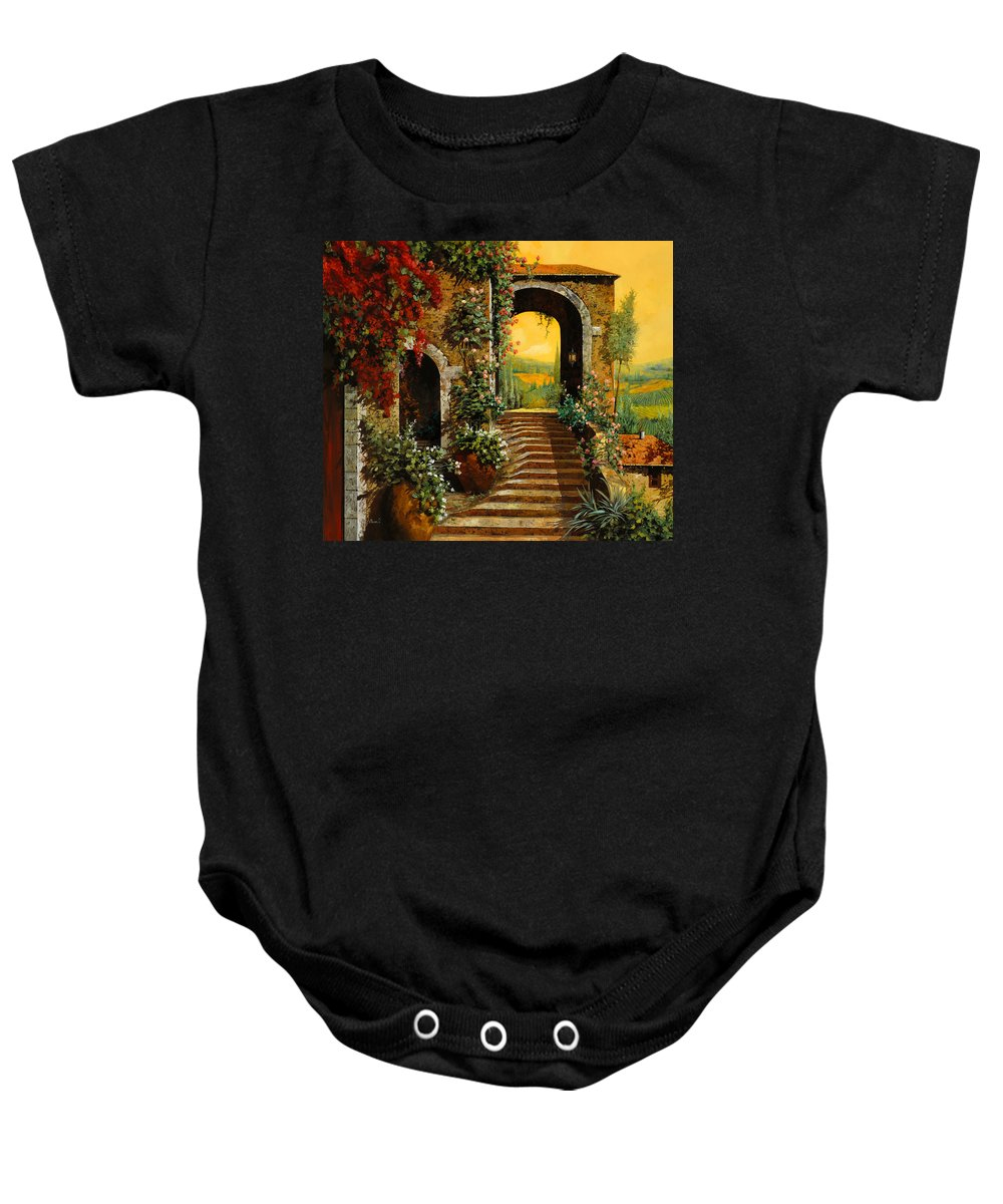 Arch Baby Onesie featuring the painting Le Scale  by Guido Borelli