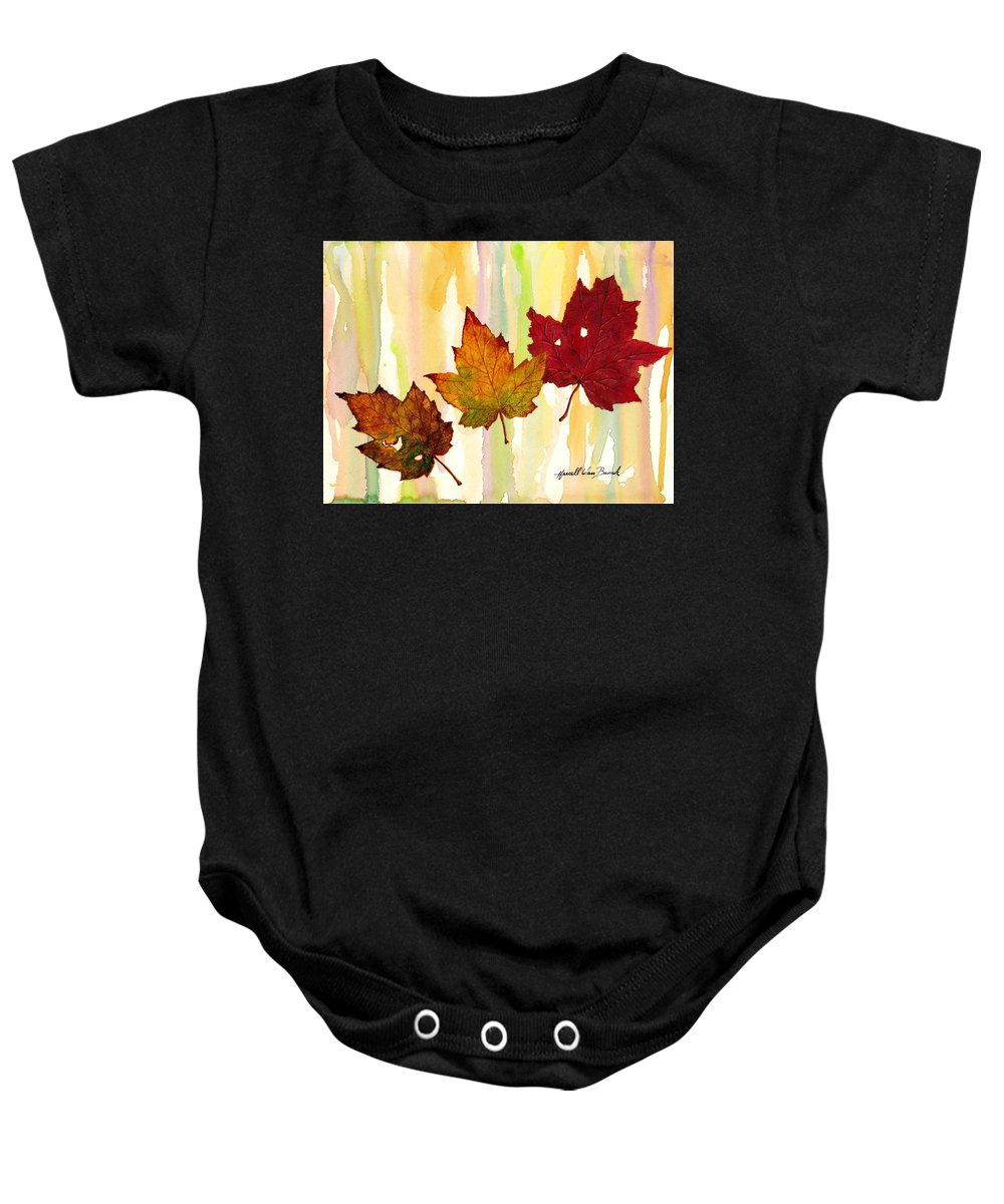 Fall Baby Onesie featuring the painting Leaves Of Fall by Van Bunch
