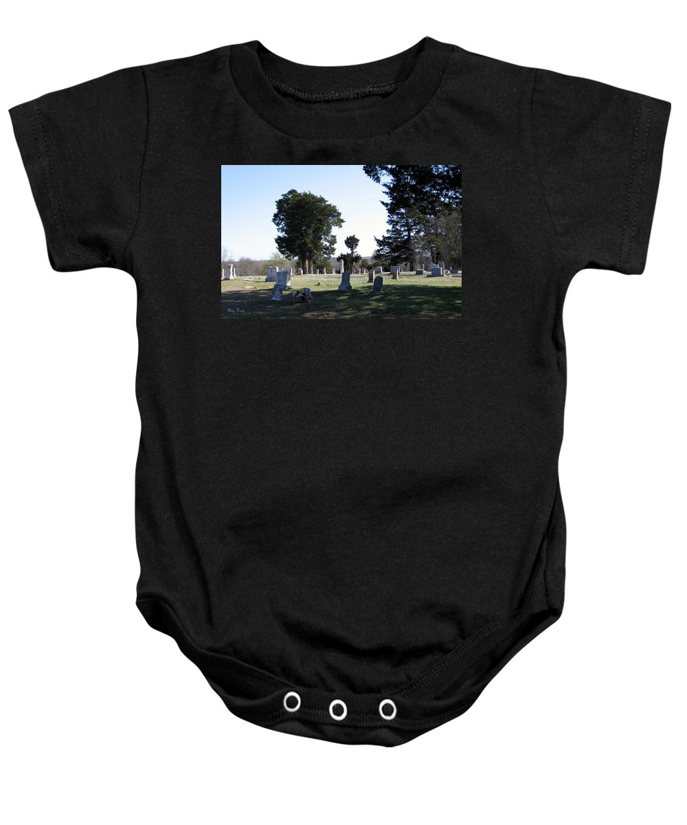 Cemetery Baby Onesie featuring the photograph Lebanon Cemetery Oklahoma by Amy Hosp