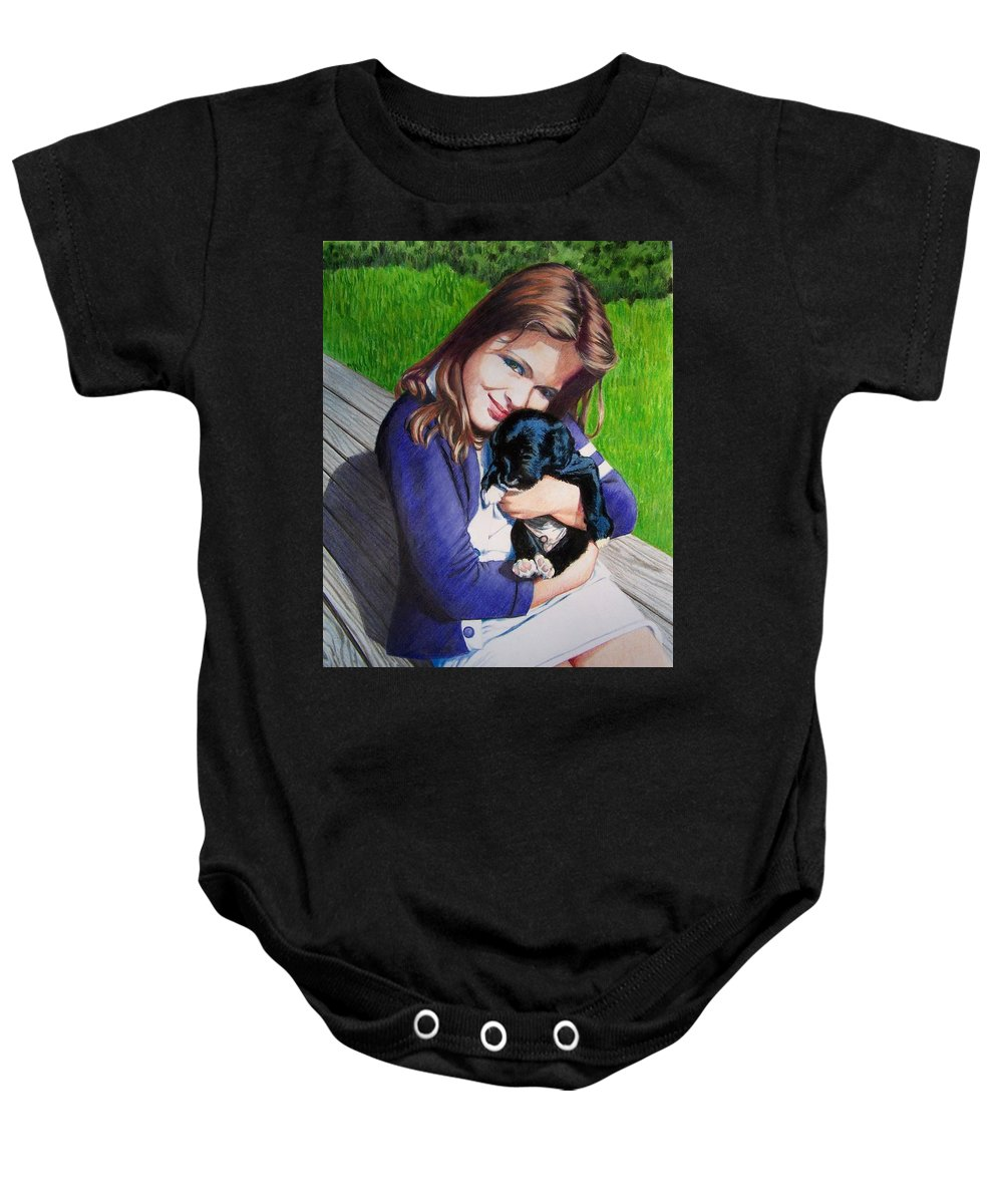 Girl Baby Onesie featuring the mixed media Leslie And Sergeant by Constance Drescher