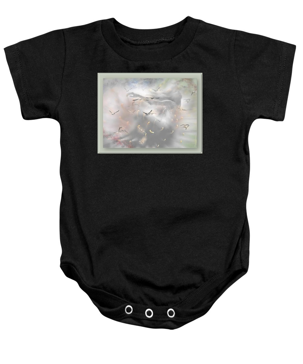 Flying Baby Onesie featuring the mixed media Let Me Dream by Freddy Kirsheh