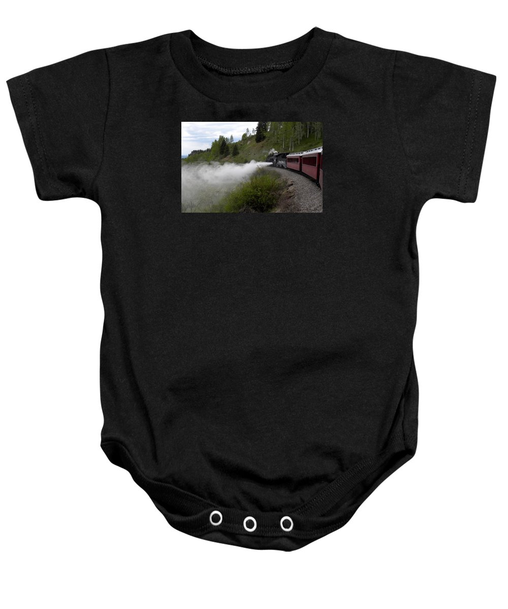 Train Baby Onesie featuring the photograph Letting Off Steam by Annie Adkins