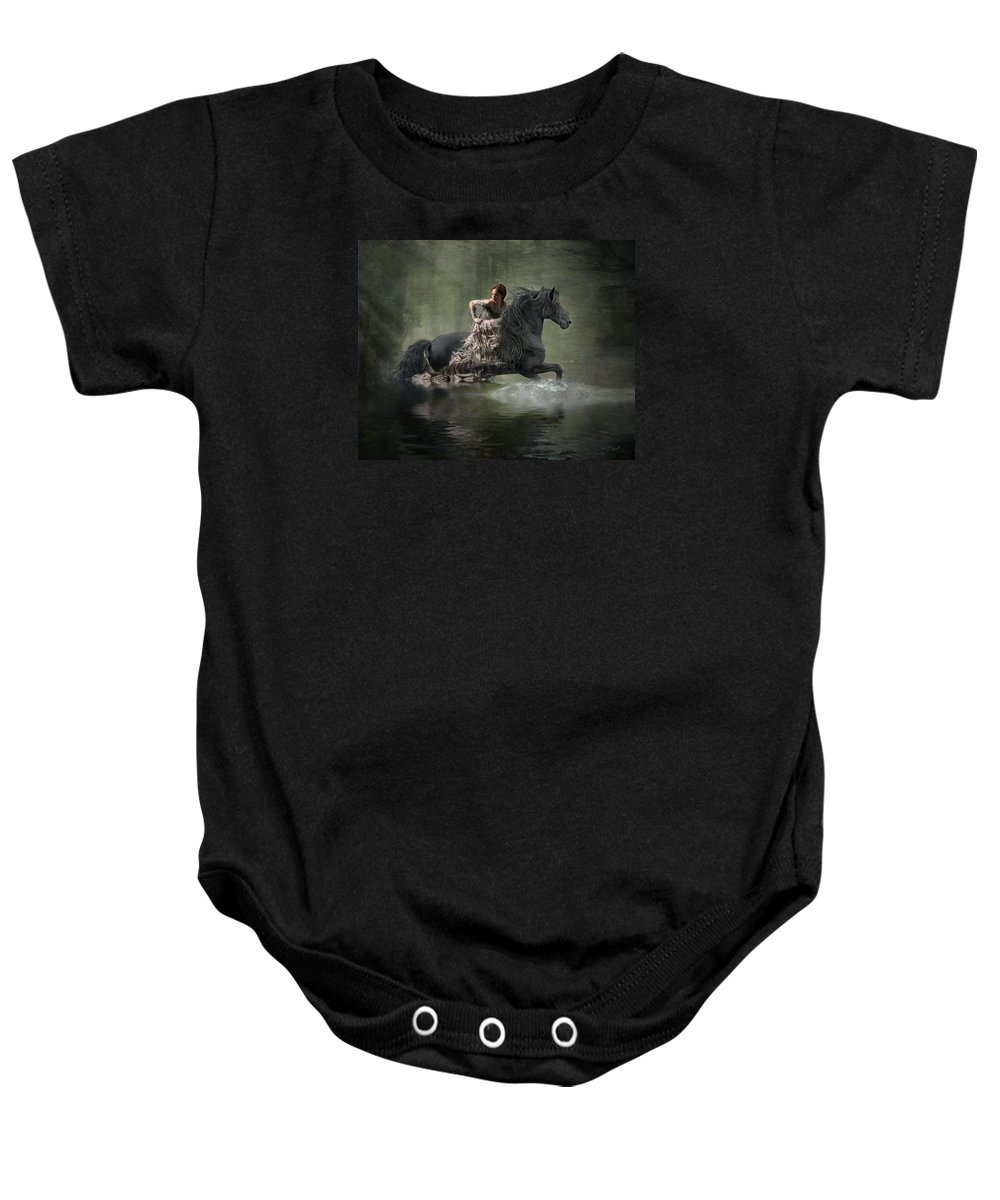 Girl Fleeing On Horse Baby Onesie featuring the photograph Liberated by Fran J Scott