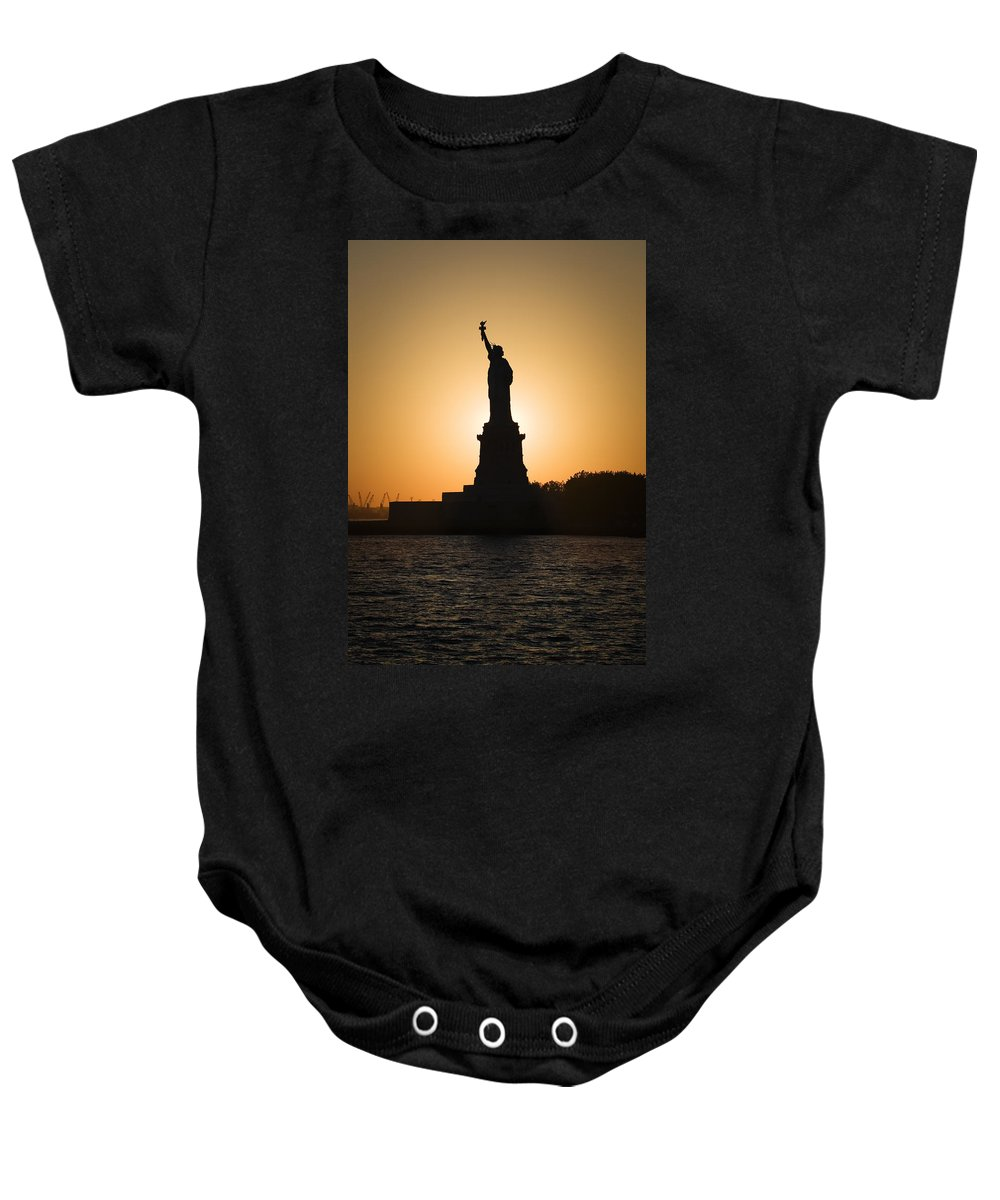 Statue Of Liberty Baby Onesie featuring the photograph Liberty Sunset by Dave Bowman