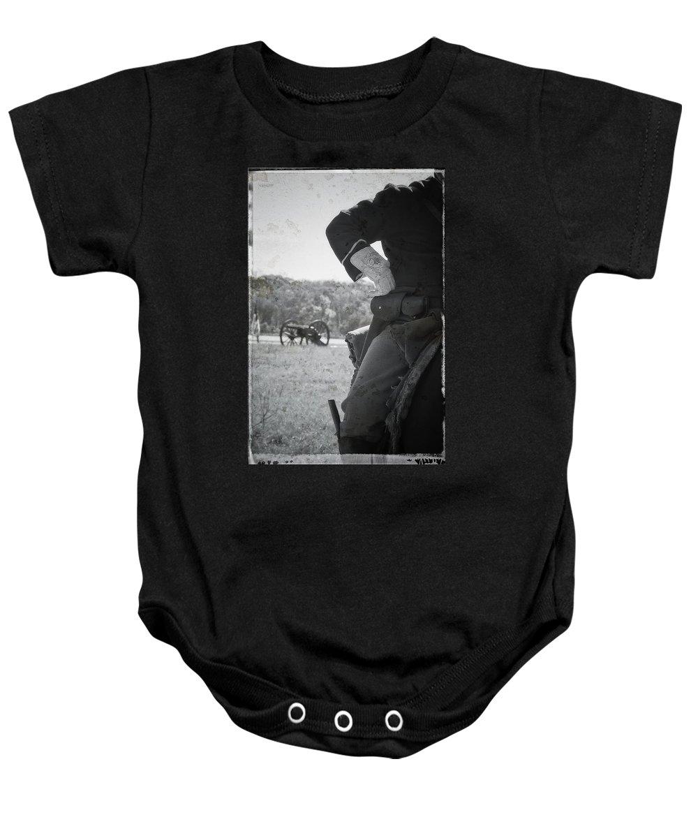 Civil War Baby Onesie featuring the photograph Liendo Reenactment by Kim Henderson
