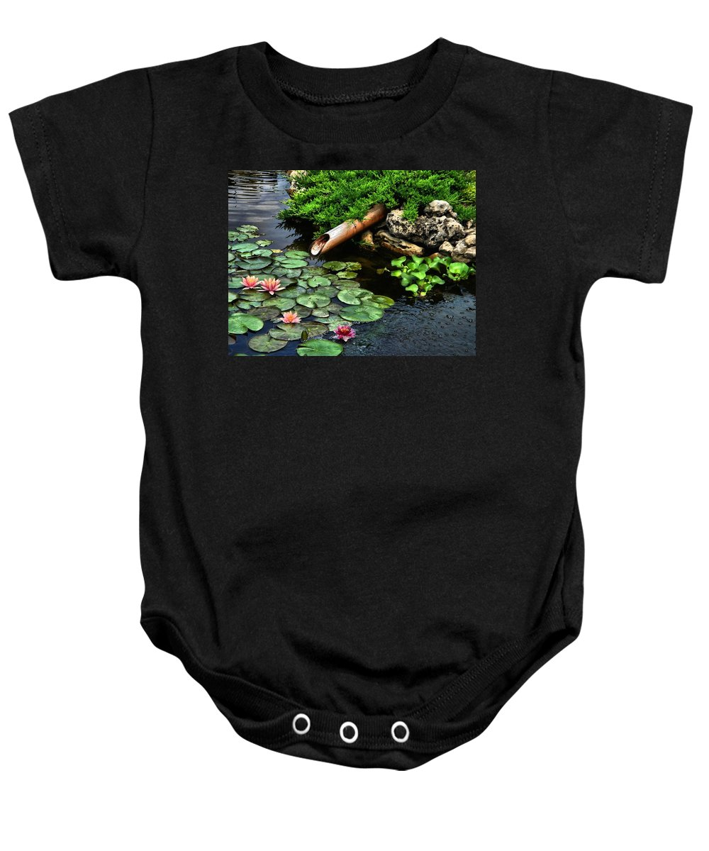 Lily Pond Baby Onesie featuring the photograph Life At The Lily Pond by Andrea Kollo