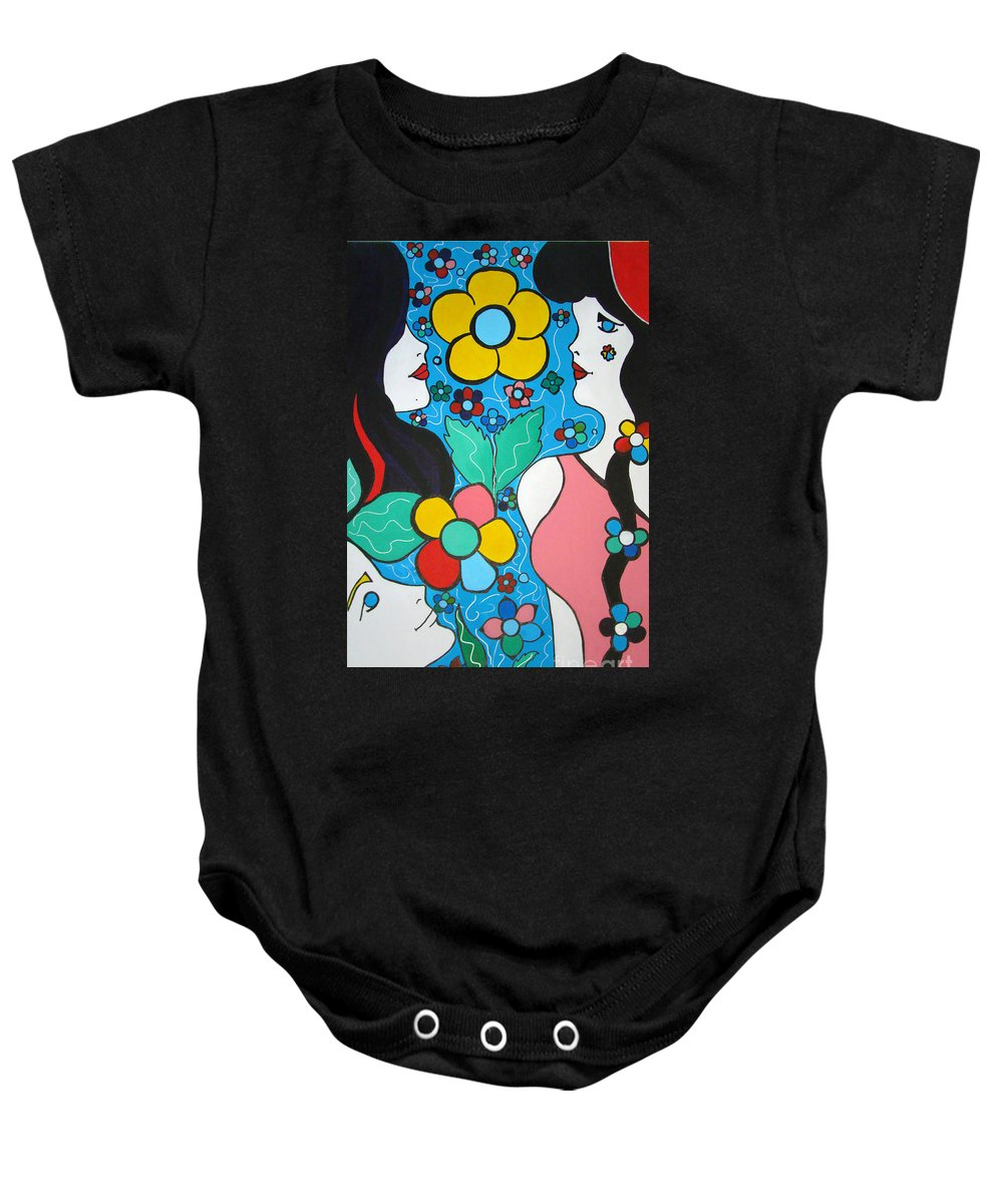 Pop-art Baby Onesie featuring the painting Life Is Beautiful by Silvana Abel