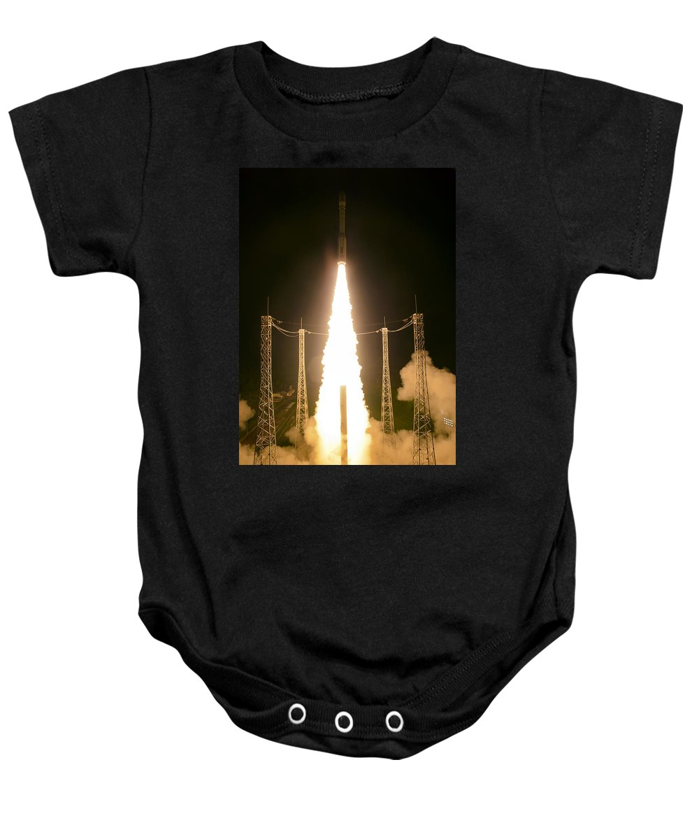 Science Baby Onesie featuring the photograph Liftoff Of Vega Vv06 With Lisa by Science Source