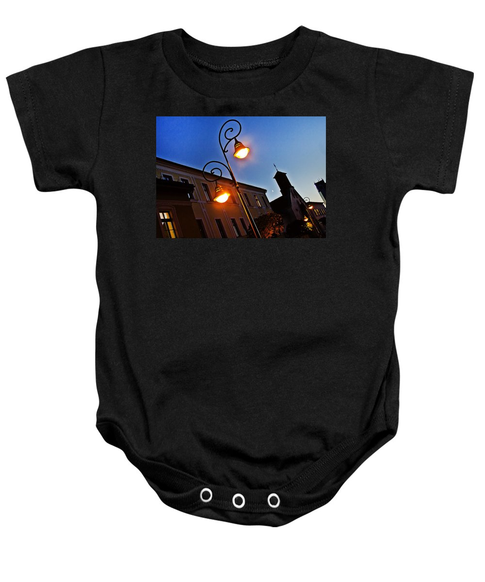 Cityscape Baby Onesie featuring the photograph Light And Moon In B.bystrica by Alex Art and Photo